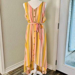 June & Hudson Hi-Low Striped Tank Dress NWOT